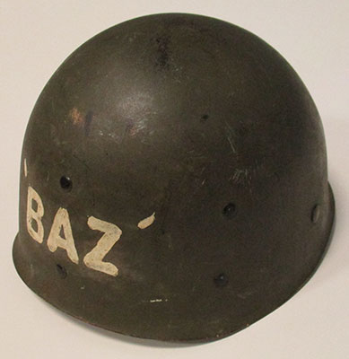 20299ad96 Helmet liner, with Zavislan's initials, BAZ painted on the front. His rank  (Captain) is painted on the back.